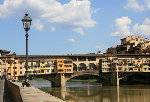 Florence, Ponte Vecchio with river Arno